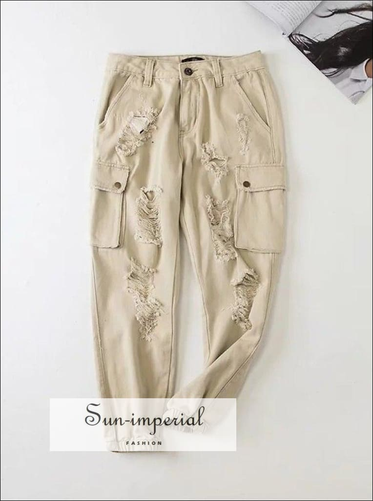 Women Distressed Raw Cargo-pocket Pants Cropped Cargo Pants