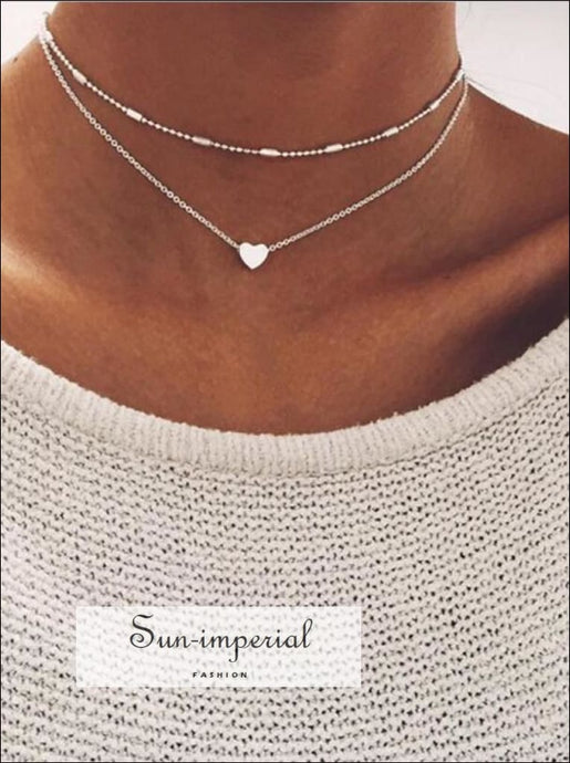 Women DOUBLE HORN PENDANT HEART NECKLACE GOLD Dot Necklace SUN-IMPERIAL United States