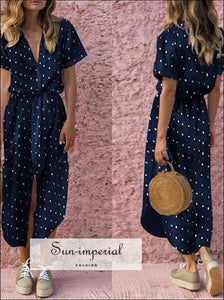 Women Dress Bow Tie Waist V Neck Polka Dot Print Buttoned Down Short Sleeve Midi SUN-IMPERIAL United States
