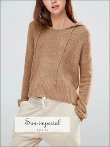 Women Drop Shoulder Hooded Knit Top Hooded Long Sleeve Crop Pullovers BASIC SUN-IMPERIAL United States