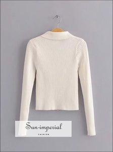 Women Dual Zipper Ribbed Sweater Shirt Cropped Knit Cardigans SUN-IMPERIAL United States