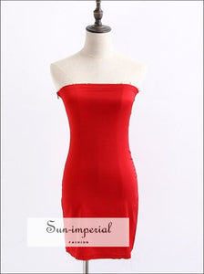 Women Elastic Stain Tube Dress with side Zip Satin Strapless Mini SUN-IMPERIAL United States