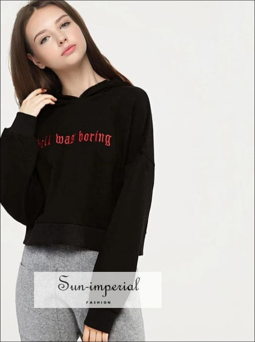 Women Embroidery Letter Crop Hooded Sweatshirt with Batwing Sleeve BASIC SUN-IMPERIAL United States