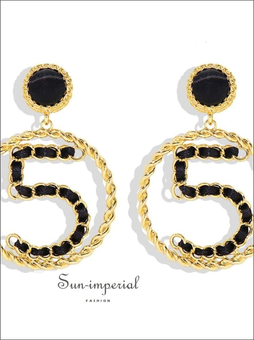 Women Fashion Number 5 Statement Earrings Gold Color Metal Round Circle Drop chick sexy style, uniqe, Unique style SUN-IMPERIAL United