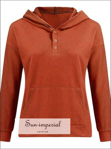 Women Fashion Solid Color Button Long-sleeved Hooded Sweater Loose Casual Warm Pocket Sweatshirt