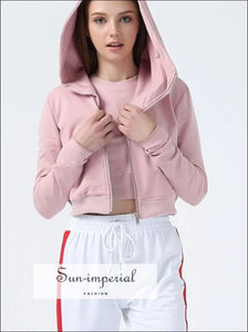 Women Fashion Style Two Pieces Sweatshirts Crew Neck Crop Sweatshirt + Cropped Zip up Hoodie BASIC SUN-IMPERIAL United States