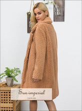 Women Faux Fur Teddy Coat Winter thick Warm Fluffy Maxi Long Fur Coat Lapel Shaggy Jackets Overcoat