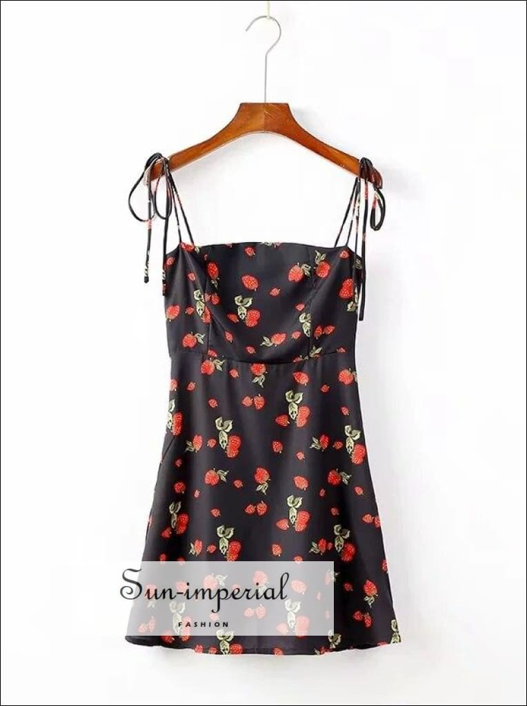 Women Fit and Flare Strawberry Print Cami Dress Casual Strap Ties Mini SUN-IMPERIAL United States