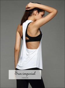 Women Fitness Tanks top T Shirt Round Neck Open Sides Sporty Blouse Workout Active Wear top