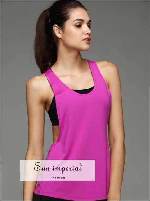 Women Fitness Tanks Top T Shirt round Neck open sides sporty blouse workout active wear top SUN-IMPERIAL United States