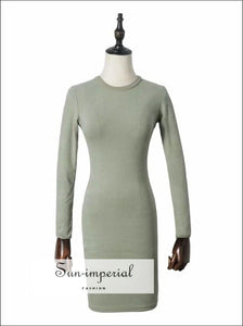 Women Fitted Long Sleeve Mini Dress Jersey BASIC SUN-IMPERIAL United States