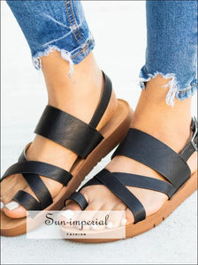 Women FLATS Summer Black Buckle Open Toe Sandals SUN-IMPERIAL United States