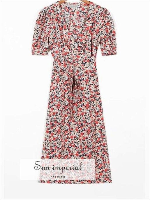 Women Floral Print Midi Dress Summer Short Sleeve Bohemian Dresses Eu Usa dress, floral print, flower flowers High quality dress