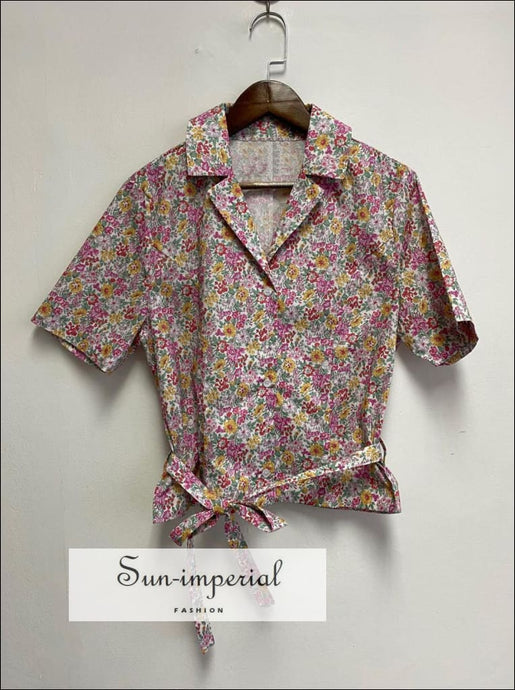 Women Floral Printed Buttoned top V Neck Vintage Blouse with Short Sleeve Lapel Collar and Tie Waist vintage style SUN-IMPERIAL United