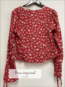 Women Floral Red Long Sleeve top Single Breasted V-neck Vintage Blouse vintage style SUN-IMPERIAL United States