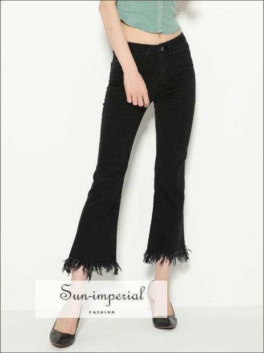 Women Frayed Hem Cropped Flare Jeans Fashion Ankle Length Denim Flare Pants with Frayed Hem SUN-IMPERIAL United States