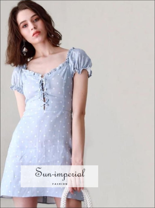 Women Frill Trim Lace-Up Mini Dress Vintage Polka Dot Short Sleeve Dress vintage SUN-IMPERIAL United States