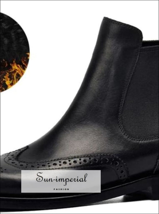 Women Genuine Leather Boots Brogue Carved Ankle Boots Fashion Chelsea Low Heels Ladies Booties Autumn 2019 Ladies Shoes SUN-IMPERIAL United
