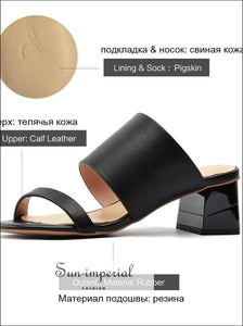 Women Genuine Leather Flip Flops Slippers thick Middle Heel Ladies Shoes SUN-IMPERIAL United States