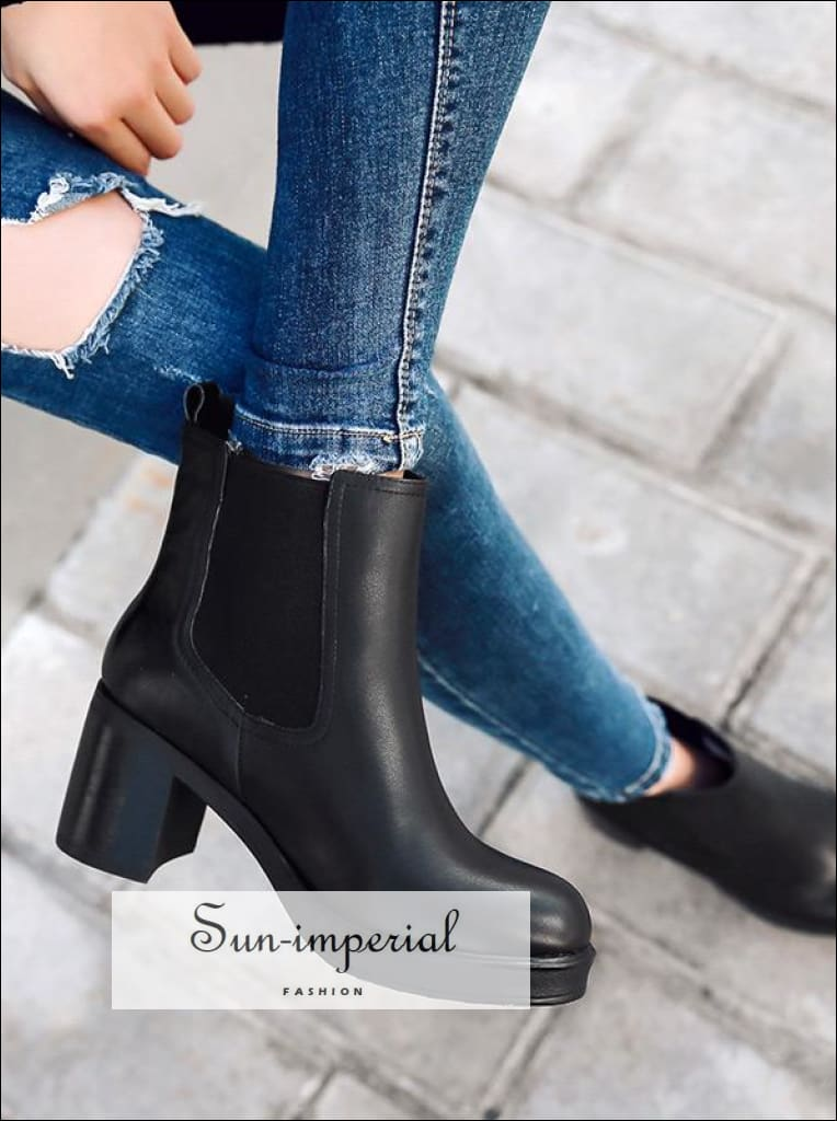 women genuine leather snow boots natural wool fur insole winter booties platform shoes high heels ankle boots SUN-IMPERIAL United States