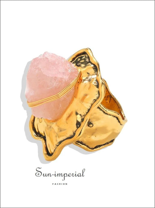 Women Gold Color Fashion Ring with Pink Stone detail SUN-IMPERIAL United States
