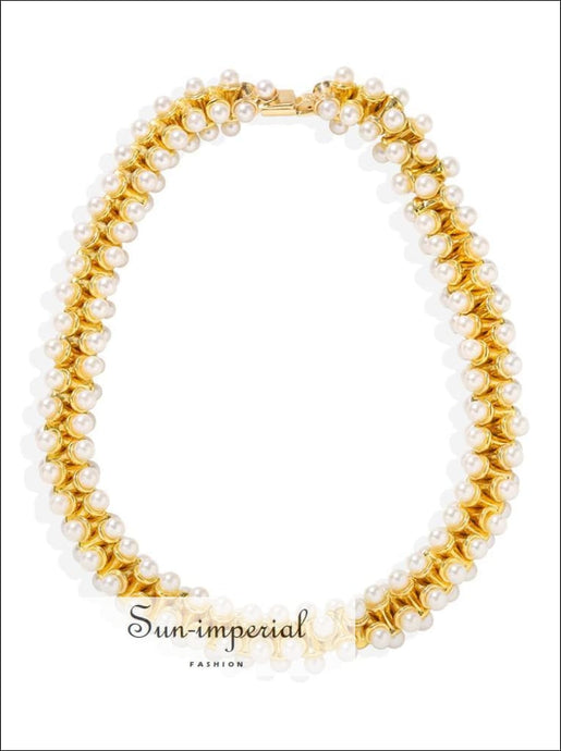 Women Gold Double Pearl Fashion Choker Necklace Bohemia Pendant SUN-IMPERIAL United States