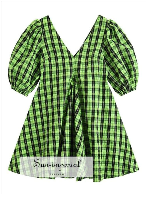 Women Green and Black Plaid Short Puff Sleeve V Neck A-line Mini Dress bohemian style, boho harajuku Preppy Style Clothes, PUNK STYLE