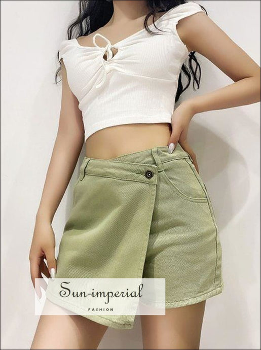 Women Green Casual an Asymmetric Wrap-style front Denim Shorts with side Pockets Mini Skirt best seller, denim shorts, green omen skirt