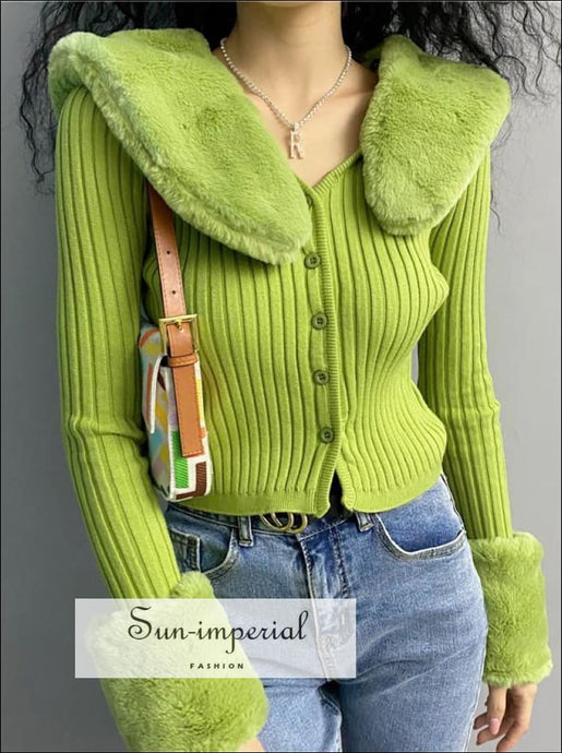Women Green Detachable Plush Faux Fur Collar and Cuff Knit Cropped Cardigan Basic style, Bohemian Style, boho casual harajuku style