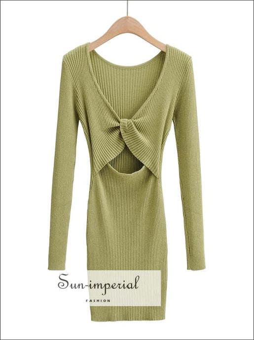 Women Green Knitted Jumper Bodycon Mini Dress with Cut-out and Twist back detail Basic style, casual chick sexy harajuku sporty style