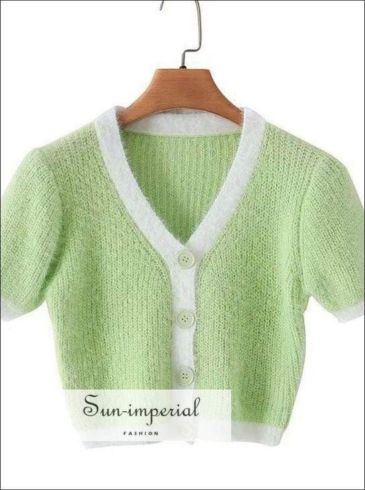 Women Green Knitted T Shirt V Neck Crop Ladies Fashion Summer Cropped Cardigan