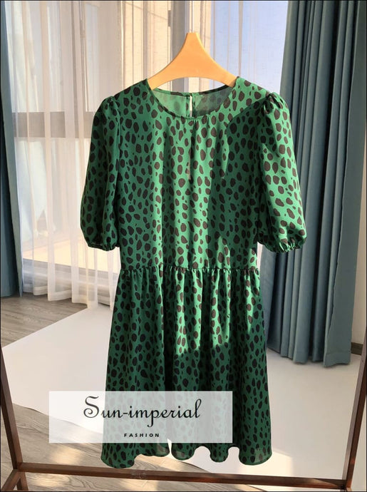 Women Green Leopard Print High Neck Short Puff Sleeve A- Line Mini Dress bohemian style, boho elegant harajuku Preppy Style Clothes