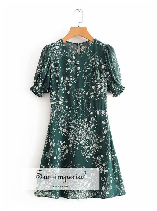 Women Green Short Sleeve Floral O Neck A-line Mini Dress SUN-IMPERIAL United States