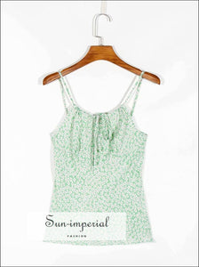 Women Green Vintage Floral Print Tank top Cami Strap Slim Cut