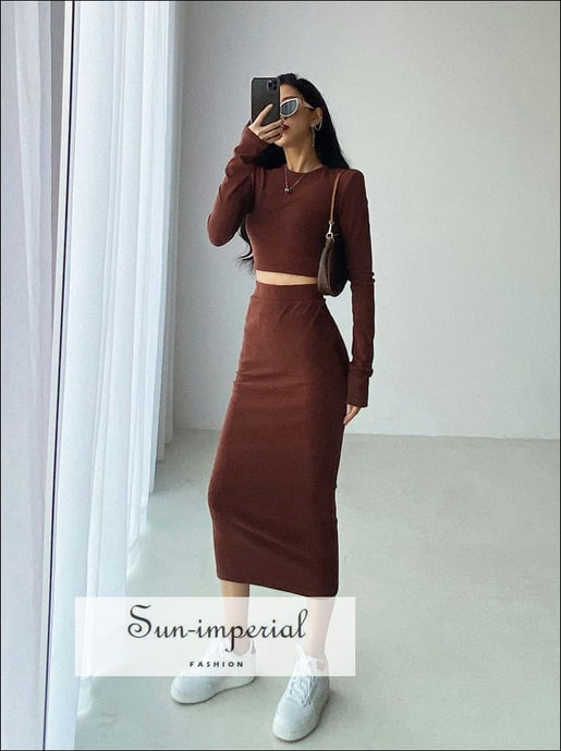 Women Grey Casual Co-ord Fit O Neck Long Sleeve Crop top and Midi Skirt Set basic skirt set, Basic style, casual harajuku PUNK STYLE