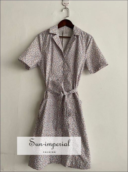Women Grey Floral Printed Short Sleeve Buttoned Mini Dress with Tie Waist and Lapel Collar vintage style SUN-IMPERIAL United States