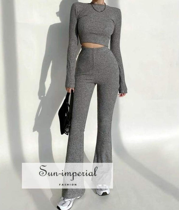Women Grey High Neck Ribbed Long Sleeve Crop top and Stretch Waist Flare Trousers Co-ord Two Basic style, casual chick sexy harajuku Preppy