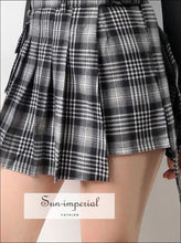 Women Grid Checkers Wrap Mini Skirt with Horn Buckle Preppy Korean Style SUN-IMPERIAL United States