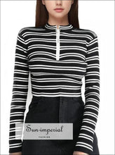 Women Half Zip Stripes Crop Knit Jumper Crop Knitting Pullover Cropped Sweaters BASIC SUN-IMPERIAL United States