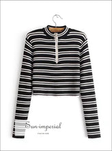 Women Half Zip Stripes Crop Knit Jumper Crop Knitting Pullover Cropped Sweaters