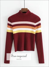 Women High Neck Stripe Ribbed Knit Top Rainbow Striped Jumper BASIC SUN-IMPERIAL United States