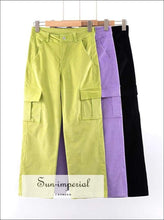 Women High-rise Cargo Wide Leg Corduroy Pants with front and back Pockets and Two Pockets on the