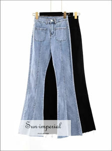 Women High-rise Waist Buttons Flare Jeans Elastic BASIC, flare jean SUN-IMPERIAL United States