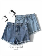 Women High Waist Cotton Relaxed Fit Short with Raw Hem BASIC, DENIM SHORTS SUN-IMPERIAL United States