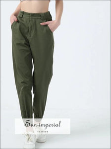 Women High Waist Cotton Trousers with Stretch Cuffs Casual Harem Pants