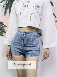 Women High Waist Denim Shorts Jeans Shorts BASIC SUN-IMPERIAL United States