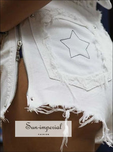 Women High Waist Embroidery Star White Jeans Shorts
