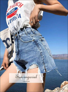 Women High Waist Ripped Blue and Black Denim Shorts with Pockets