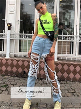 Women High Waist Ripped Denim SUN-IMPERIAL United States