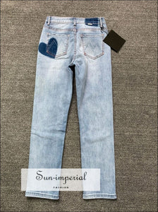 Women High Waist Straight Leg Boyfriend Denim with Heart Print back Pocket detail vintage style SUN-IMPERIAL United States